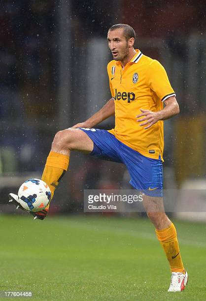 Giorgio Chiellini of Juventus in action during the Serie A match between UC Sampdoria and Juventus at Stadio Luigi Ferraris on August 24 2013 in...