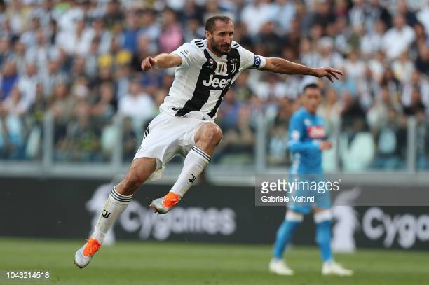 Giorgio Chiellini of Juventus in action during the Srie A match between Juventus and SSC Napoli at Allianz Stadium on September 29 2018 in Turin Italy