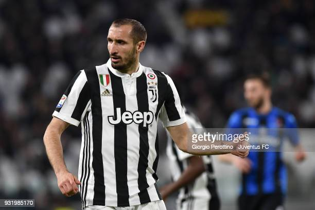 Giorgio Chiellini of Juventus looks on during the serie A match between Juventus and Atalanta BC on March 14 2018 in Turin Italy