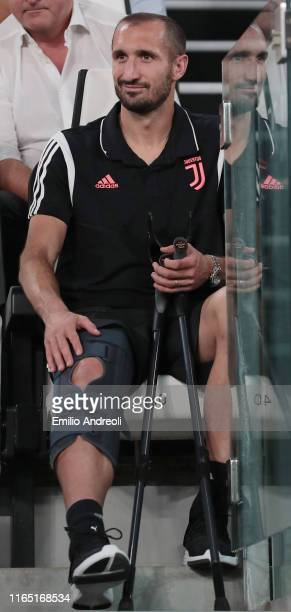 Giorgio Chiellini of Juventus looks on prior to the Serie A match between Juventus and SSC Napoli at Allianz Stadium on August 31, 2019 in Turin,...