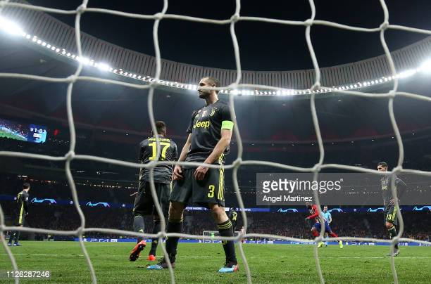 Giorgio Chiellini of Juventus reacts after Diego Godin of Atletico Madrid scores his team's second goal during the UEFA Champions League Round of 16...