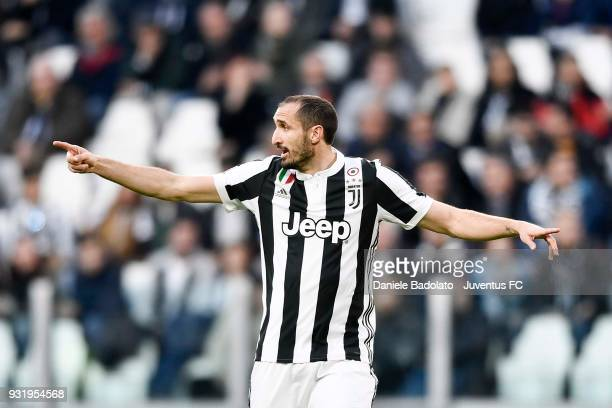 Giorgio Chiellini of Juventus reacts during the serie A match between Juventus and Atalanta BC on March 14 2018 in Turin Italy