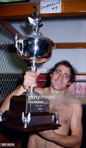 Giorgio Chinaglia of the New York Cosmos celebrates with the trophy after the New York Cosmos v Seattle NASL Soccer Bowl Final in San Diego USA on...