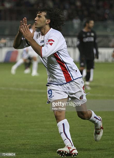 Giorgio Corona of Catania celebrates his goal during the Serie A match between Reggina and Catania at Stadio Oreste Granillo November 4 2006 in...