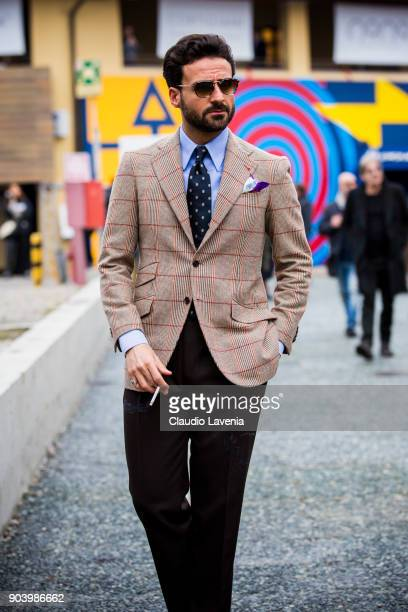 Giorgio Gian Giulio is seen during the 93 Pitti Immagine Uomo at Fortezza Da Basso on January 11 2018 in Florence Italy