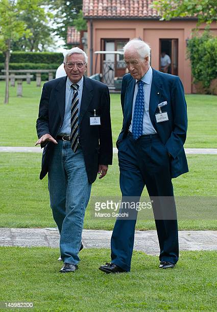 Giorgio La Malfa and Antonio Puri Purini attend the CONSIUSA Biennial Conference 2012 at San Clemente Palace on June 8 2012 in Venice Italy Founded...