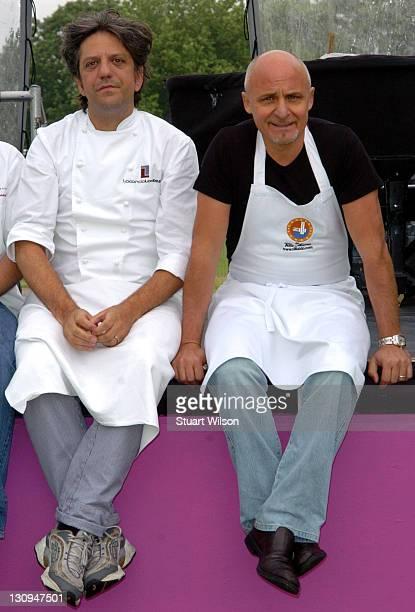 Giorgio Locatelli and Aldo Zilli during Taste Of London Photocall at Regent's Park in London Great Britain