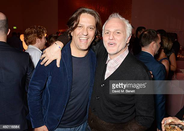 Giorgio Locatelli and Mourad Mazouz attend a private dinner hosted by Mourad Mazouz Stephen Friedman and David Shrigley to celebrate the unveiling of...