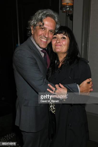Giorgio Locatelli and Plaxy Locatelli attend the GQ Food Drink Awards at Rosewood London on April 23 2018 in London England