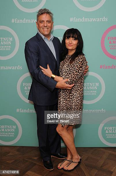 Giorgio Locatelli and Plaxy Locatelli attends the third annual Fortnum Mason Food Drink Awards 2015 on May 21 2015 in London England The awards...