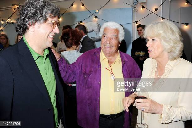 Giorgio Locatelli Antonio Carluccio and Camilla Duchess of Cornwall attend as Tom Parker Bowles launches his new cookbook 'Let's Eat Recipes From My...