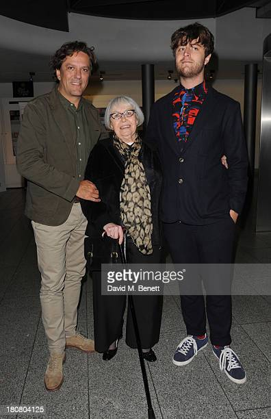 Giorgio Locatelli Mara Exton and Jack Exton attends opening night of Barking In Essex at Wyndhams Theatre on September 16 2013 in London England