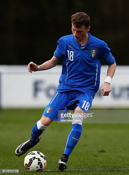 Giorgio Losa of Italy in action during the U16s International Friendly match between England U16 and Italy U16 at St Georges Park on February 21 2016...