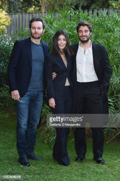 Giorgio Marchesi Alessandra Mastronardi and Lino Guanciale attend 'L'Allieva 2' photocall at RAI Viale Mazzini on October 23 2018 in Rome Italy