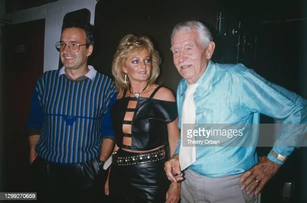 Giorgio Moroder, Bonnie Tyler et Gustav Frohlich à la première de Metropolis de Fritz Lang en aout 1984 à Paris, France.