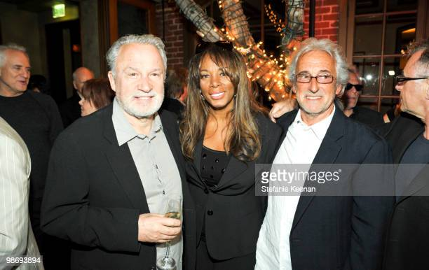 Giorgio Moroder Donna Summer and Pete Bellotte attend Giorgio Moroder's Surprise Birthday Party at Spago on April 26 2010 in Beverly Hills California