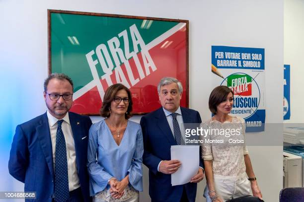 Giorgio Mulè, deputy of Forza Italia and sole spokesperson of the blue groups of the Chamber and Senate, Mariastella Gelmini, group leader of Forza...