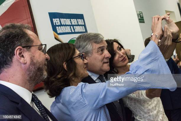 Giorgio Mulè Mariastella Gelmini Antonio Tajani Anna Maria Bernini during a press conference of Forza Italia to illustrate its proposals for...