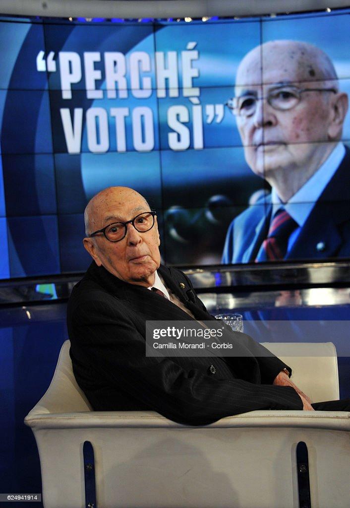 Giorgio Napolitano attends 'Porta A Porta' Tv Show on November 21, 2016 in Rome, Italy.