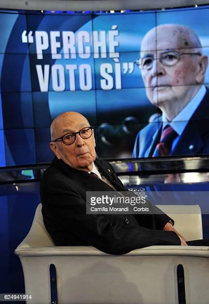 Giorgio Napolitano attends 'Porta A Porta' Tv Show on November 21 2016 in Rome Italy