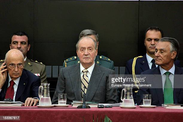 Giorgio Napolitano King Juan Carlos of Spain and Anibal Cavaco Silva attend COTEC Europa Meeting at Palacio El Pardo on October 3 2012 in Madrid Spain