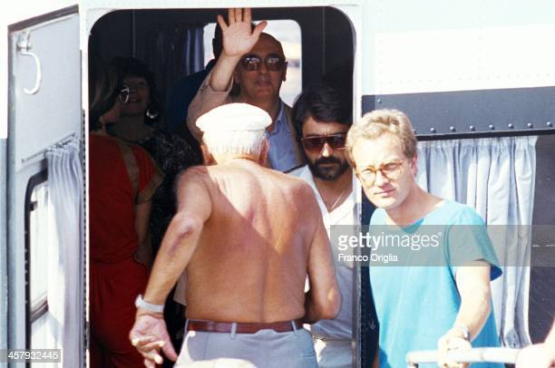 Giorgio Napolitano leaves on a hydroplane to go on holiday in the island of Stromboli on August 1989 in Stromboli Italy