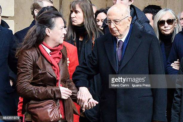 Giorgio Napolitano President of the Italian Republic take the hand of Alessandra Abbado to follow the coffin of his father the conducer Claudio...