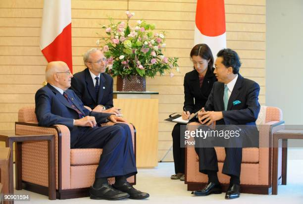 Giorgio Napolitano President of the Republic of Italy meets with newly elected Prime Minister of Japan Yukio Hatoyama at the premier's official...
