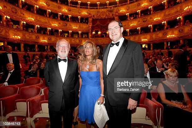 Giorgio Orsoni, Emma Marcegaglia and Giancarlo Galan attend the Premio Campiello on September 4, 2010 in Venice, Italy.
