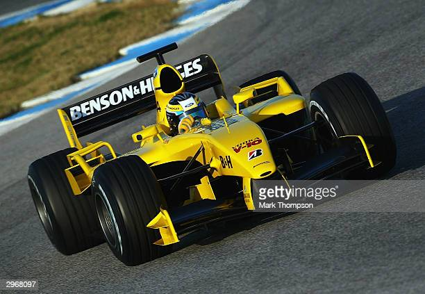 Giorgio Pantano of Italy and Jordan in action during preseason Formula One Testing at the Circuito de Jerez on February 11 2004 in Jerez Spain