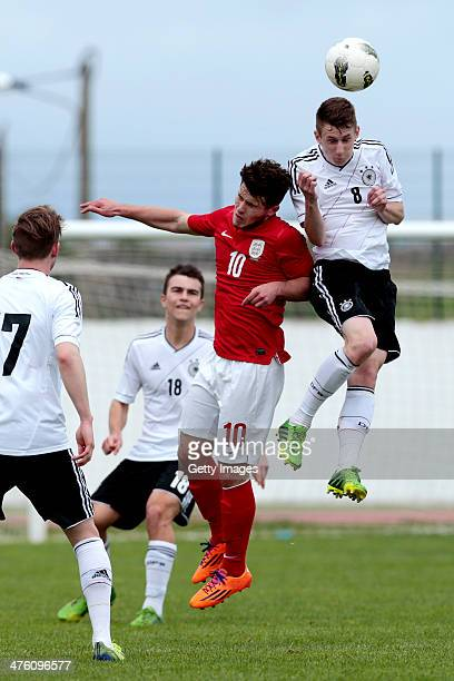 Giorgio Rasulo of England challenges Damir Bektic of Germany during the Under17 Algarve Cup between U17 England and U17 Germany at Lagos sport...