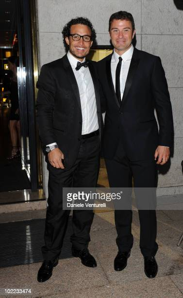 Giorgio Rocca and Antonio Rossi arrive at the Dolce Gabbana '20 Years of Menswear' dinner on June 19 2010 in Milan Italy