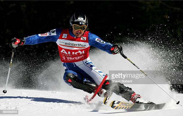 Giorgio Rocca of Italy in action during the mens slalom event of the Wengen FIS World Cup on January 15 2006 in Wengen Switzerland