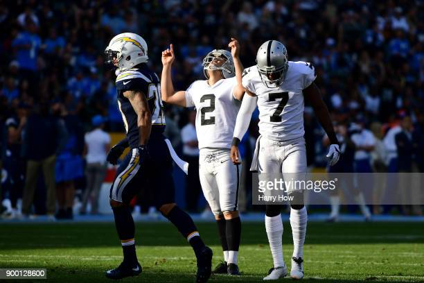 Giorgio Tavecchio of the Oakland Raiders celebrates his field goal to take a 107 lead during the second quarter of the game against the Los Angeles...