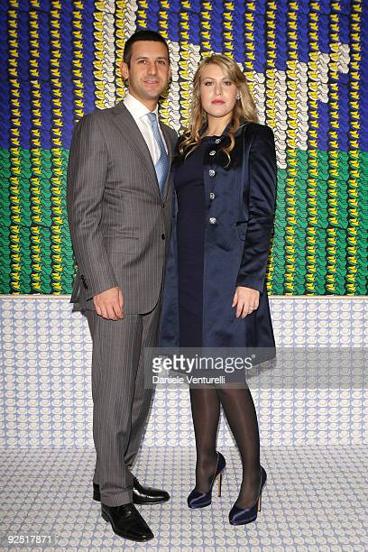 Giorgio Valaguzza and Barbara Berlusconi attend the Thomas Bayrle preview at the Cardi Black Box Gallery on October 29 2009 in Milan Italy