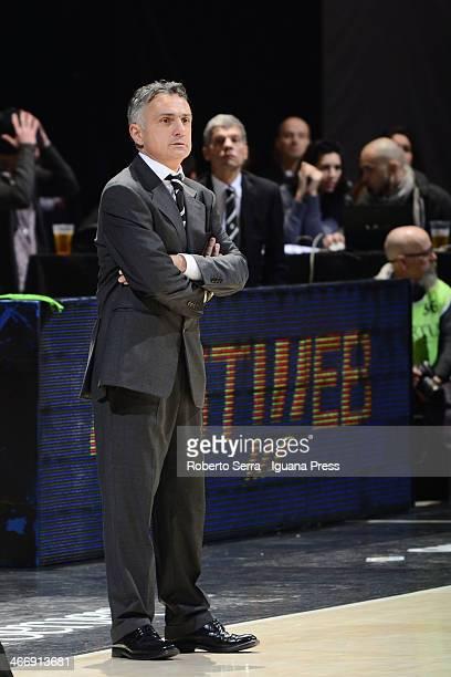 Giorgio Valli head coach of Granarolo looks over during the LegaBasket Serie A1 match between Granarolo Bologna and Montepaschi Siena at Unipol Arena...