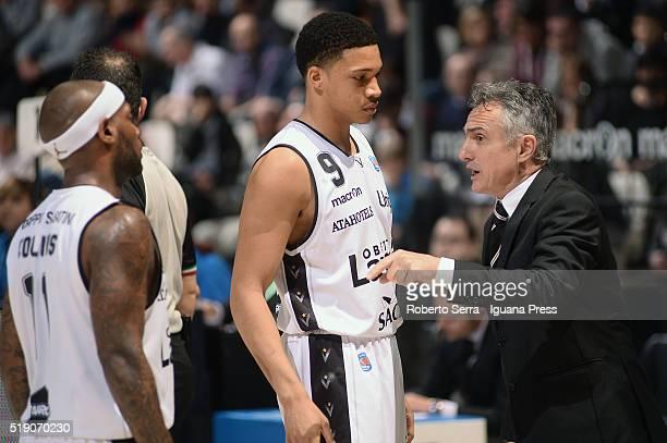 Giorgio Valli head coach of Obiettivo Lavoro talks with Abdul Gaddy and Andre Collins during the LegaBasket match between Virtus Obiettivo Lavoro...
