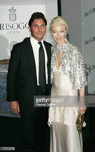 Giorgio Veroni and British socialite Tamara Beckwith attend the De Grisogono party at Hotel Du Cap on May 22 2006 in Cap d'Antibes France