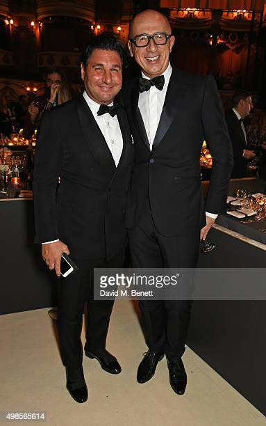 Giorgio Veroni and Marco Bizzarri attend a drinks reception at the British Fashion Awards in partnership with Swarovski at the London Coliseum on...