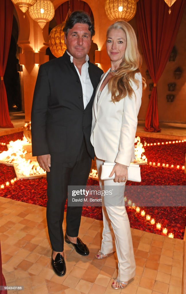 Giorgio Veroni (L) and Tamara Beckwith attend Orlando Bloom's birthday party with ABB FIA Formula E Championship at Hotel Amanjena on January 12, 2018 in Marrakech, Morocco.