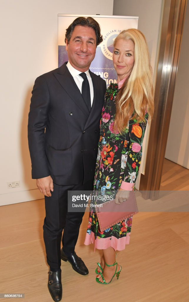 Giorgio Veroni (L) and Tamara Beckwith attend the Aeolian Islands Preservation Fund's inaugural fundraiser hosted by Ritorno at Phillips Gallery on October 12, 2017 in London, England.