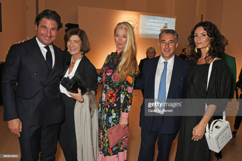 Giorgio Veroni, Hermione Del Bono, Tamara Beckwith, Luca Del Bono and Hedvig Opshaug attend the Aeolian Islands Preservation Fund's inaugural fundraiser hosted by Ritorno at Phillips Gallery on October 12, 2017 in London, England.