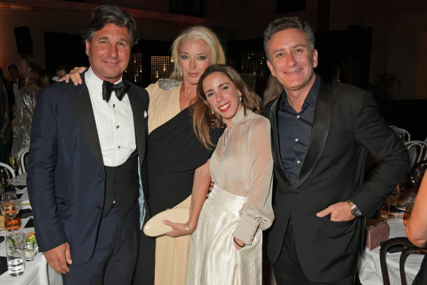 Giorgio Veroni Tamara Beckwith Ana Aznar Botella and Formula E CEO Alejandro Agag attend the Fashion For Relief London 2019 after party at The...