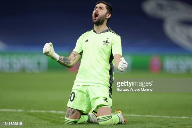 Giorgos Athanasiadis of Sheriff Tiraspol celebrates during the UEFA Champions League group D match between Real Madrid and FC Sheriff at Estadio...