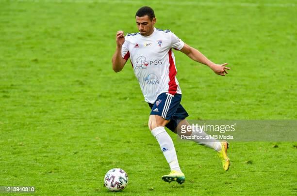 Giorgos Giakoumakis of Gornik in action during the PKO Ekstraklasa match between Gornika Zabrze and Piast Gliwice at Ernest Pohl Stadium on June 9,...