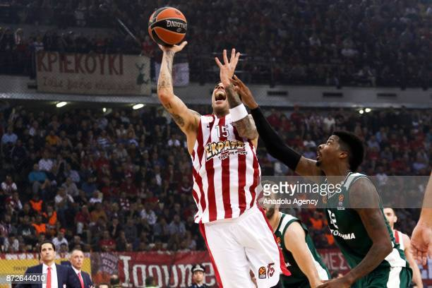 Giorgos Printezis of Olympiacos Piraeus in action during the Turkish Airlines Euroleague basketball match between Panathinaikos Superfoods and...