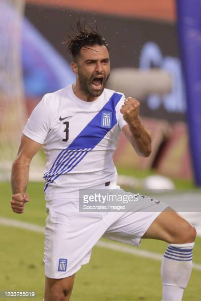 Giorgos Tzavellas of Greece celebrate his goal 1-1 during the International Friendly match between Belgium v Greece on June 3, 2021