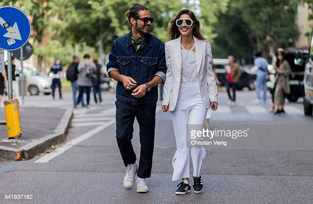 Giotto Calendoli and Patricia Manfield outside Armani during the Milan Men's Fashion Week Spring/Summer 2017 on June 21, 2016 in Milan, Italy.