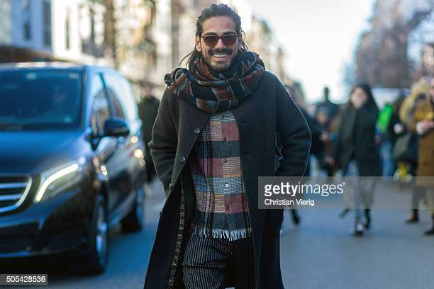 Giotto Calendoli outside at No21 during Milan Men's Fashion Week Fall/Winter 2016/17 on January 17 in Milan Italy