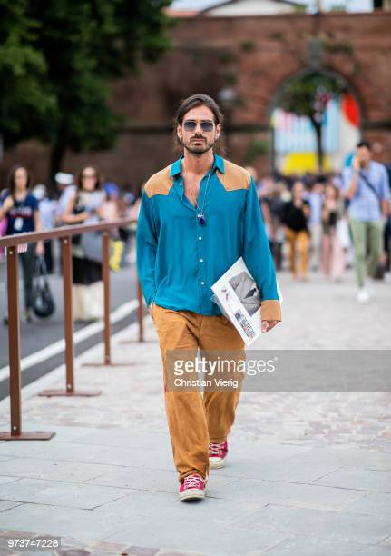Giotto Calendoli wearing brown pants button shirt is seen during the 94th Pitti Immagine Uomo on June 13 2018 in Florence Italy